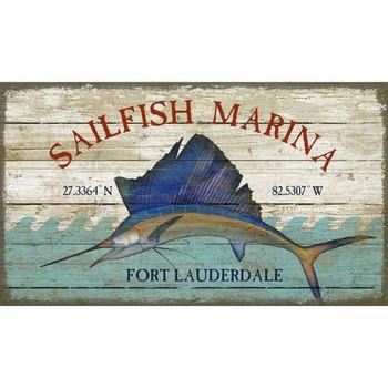 Custom Sailfish Marina Fort Lauderdale Latitude Vintage Style Wooden Sign