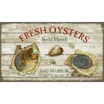 Custom Fresh Oysters Sag Harbor Latitude Vintage Style Wooden Sign