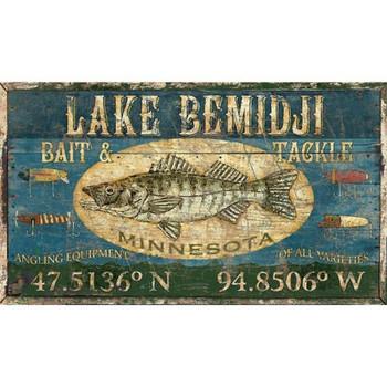 Custom Lake Bemidji Walleye Fish Vintage Style Wooden Sign