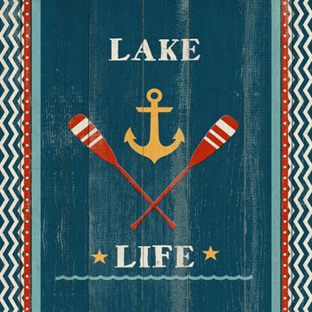 Custom Lake Life Oars & Anchor Vintage Style Wooden Sign