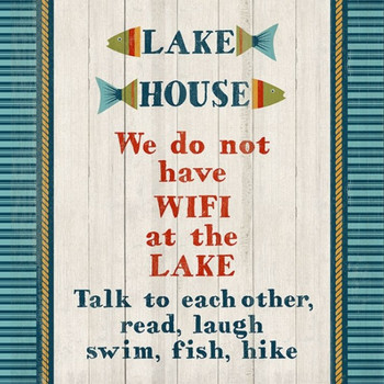 Custom No Wifi at Lake House Vintage Style Wooden Sign