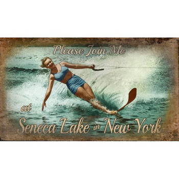 Custom Seneca Lake Water Skiing Vintage Style Wooden Sign