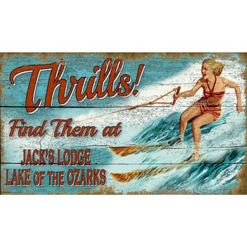 Custom Ozarks Lake Thrills Water Skiing Vintage Style Wooden Sign