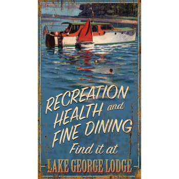 Custom Lake George Lodge & Boat Vintage Style Wooden Sign