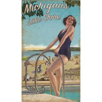 Custom Michigan's Lake Shore Girl Vintage Style Wooden Sign