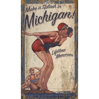 Custom Make a Splash in Michigan Diving Girls Vintage Style Wooden Sign