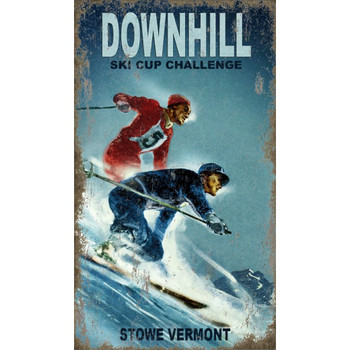 Custom Cup Challenge Ski Stowe Vermont Vintage Style Wooden Sign