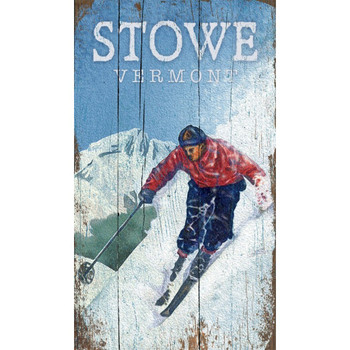 Custom Skiing Stowe Vermont Vintage Style Wooden Sign