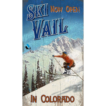 Custom Now Open Ski Vail Colorado Vintage Style Wooden Sign