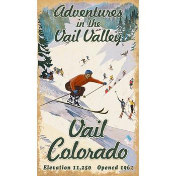 Custom Vail Colorado Adventures Skiing Vintage Style Wooden Sign