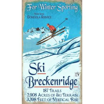 Custom Breckenridge Air Skiing Vintage Style Wooden Sign