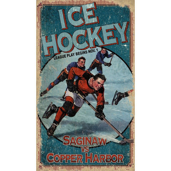 Custom Breakaway Ice Hockey Vintage Style Wooden Sign