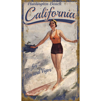 Custom California Surfer Girl Vintage Style Wooden Sign