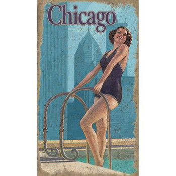 Custom Chicago Swimming Girl Vintage Style Wooden Sign