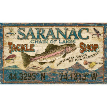 Custom Saranac Tackle Shop Trout Fish Vintage Style Metal Sign