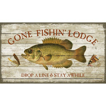 Custom Gone Fishing Lodge Vintage Style Metal Sign