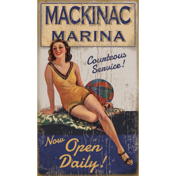 Custom Mackinac Marina Vintage Style Metal Sign