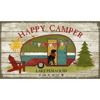 Custom Happy Camper Lake Pemaquid Latitude Vintage Style Metal Sign