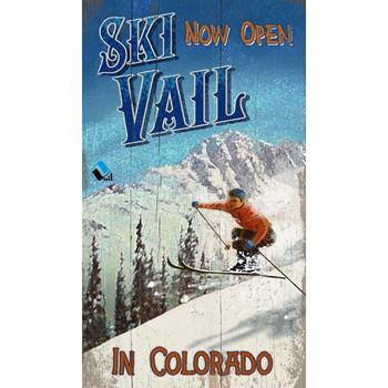 Custom Now Open Ski Vail Colorado Vintage Style Metal Sign