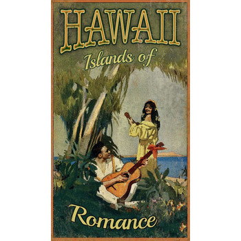 Custom Hawaii Islands of Romance Vintage Style Metal Sign