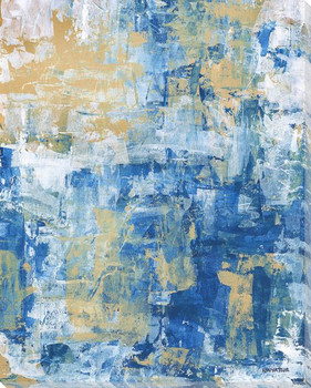Cascading Blue II Wrapped Canvas Giclee Art Print Wall Art