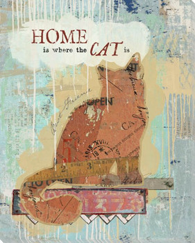Home Is Where The Cat Is Wrapped Canvas Giclee Art Print Wall Art