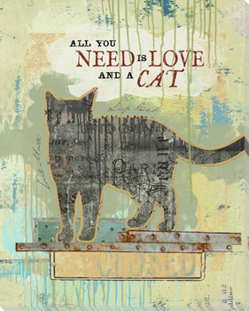 All You Need Is Love And A Cat Wrapped Canvas Giclee Art Print Wall Art