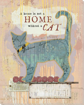 A House Is Not A Home Without A Cat Wrapped Canvas Giclee Art Print Wall Art