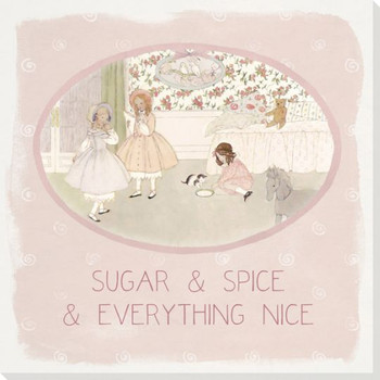 Children Rhymes Sugar and Spice Wrapped Canvas Giclee Art Print Wall Art