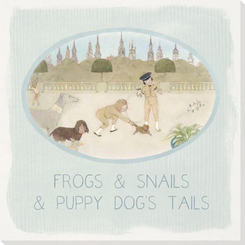 Children Rhymes Frogs and Snails Wrapped Canvas Giclee Art Print Wall Art