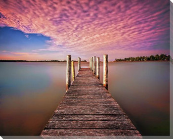 Pink Pier Wrapped Canvas Giclee Art Print Wall Art