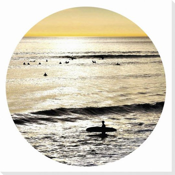 Sunset Surfer Wrapped Canvas Giclee Art Print Wall Art
