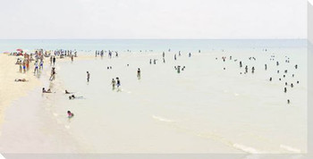 Beach Scene No18 Wrapped Canvas Giclee Art Print Wall Art