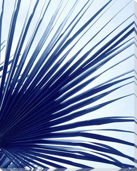 Blue Palm Right Side Wrapped Canvas Giclee Art Print Wall Art