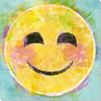 Blush Emoji Wrapped Canvas Giclee Art Print Wall Art