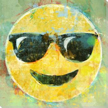 Sunglasses Emoji Wrapped Canvas Giclee Art Print Wall Art