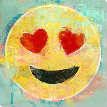 Heart Eyes Emoji Wrapped Canvas Giclee Art Print Wall Art