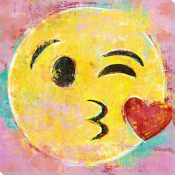 Kissing Heart Emoji Wrapped Canvas Giclee Art Print Wall Art
