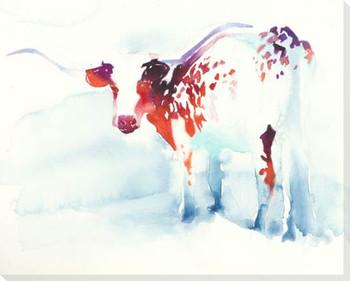 Longhorn Steer Wrapped Canvas Giclee Art Print Wall Art