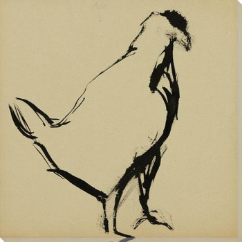 Sketch of a Hen Bird 1 Wrapped Canvas Giclee Art Print Wall Art