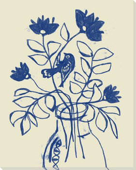 Cut Flowers With Birds 4 Wrapped Canvas Giclee Art Print Wall Art