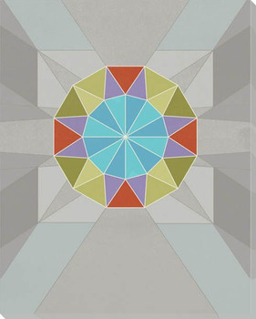 Graphic Gemstone 2 Round Cut Wrapped Canvas Giclee Art Print Wall Art