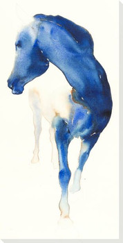 French Blue Horse Wrapped Canvas Giclee Art Print Wall Art