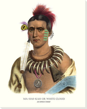 Mahaskah or White Cloud, An Ioway Chief Wrapped Canvas Giclee Art Print Wall Art