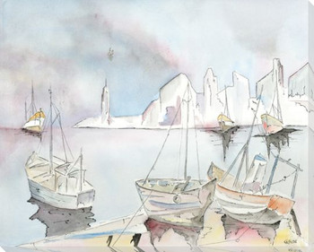 Boats At Dusk 1 Wrapped Canvas Giclee Art Print Wall Art