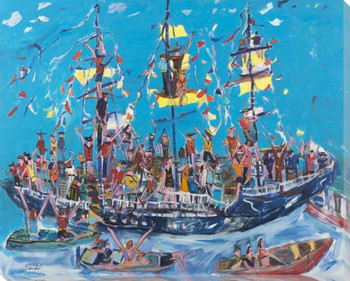 Pirate Ship Cruise Wrapped Canvas Giclee Art Print Wall Art