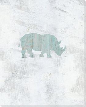 Walking Rhino Wrapped Canvas Giclee Art Print Wall Art