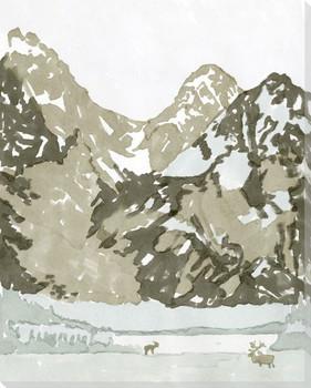 Watercolor Mountain Retreat II Wrapped Canvas Giclee Art Print Wall Art