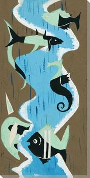 Curvy Sea 2 Wrapped Canvas Giclee Art Print Wall Art