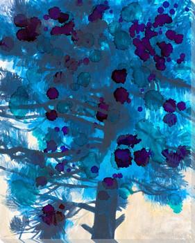 Indigo Branches Wrapped Canvas Giclee Art Print Wall Art
